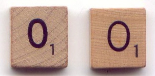 Scrabble tiles, early 1950 and later.