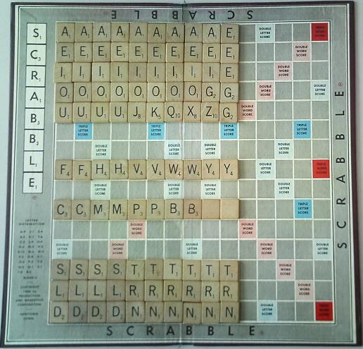 counting scrabble tiles; letter distribution in scrabble.