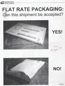 USPS Flat Rate envelope: Can this shipment be accepted? NO! (Click to enlarge.)